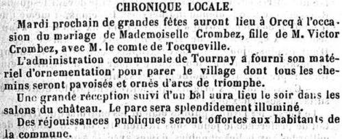 "Courrier de l'Escaut"" du 21 juin 1863."