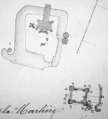 Ce dernier état montre la construction d'une tour supplémentaire juste à côté du château, à gauche, et donne aussi le détail du plan de cette tour.