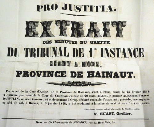 Affiche reprenant la sentence (Archives de l'Etat à Mons)