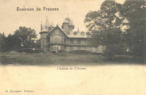 BÉCLERS - Château de Pétrieux - Édit. H. Rasseneur Frasnes - Oblitération 22 3 1904 - Coordonnées GPS • Nord : 50 37 59 • Est : 3 33 18