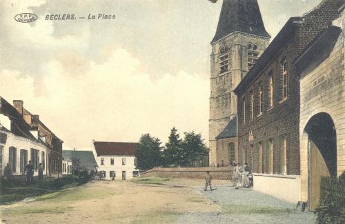 BÉCLERS - La place - Édit. Edmond Lory - Oblitération 24 2 1914 - Coordonnées GPS • Nord : 50 37 16 • Est : 3 30 17