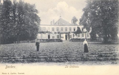BÉCLERS - Le château - Photo A. Carlier, Tournai - Oblitération 13 3 1908 - Coordonnées GPS • Nord : 50 37 13 • Est : 3 30 38