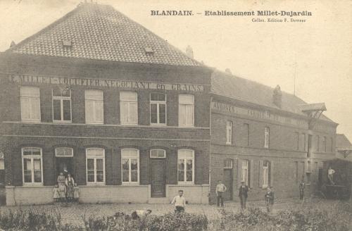 BLANDAIN - Établissements Millet-Dujardin - Édit. F. Deweer, Celles - Oblitération 3 7 1907 - Coordonnées GPS • Nord : 50 37 13 • Est : 3 17 50
