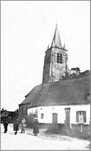 BLANDAIN - Photo-carte, l'église - Oblitération 28 6 1907 - Coordonnées GPS • Nord : 50 37 30 • Est : 3 18 10