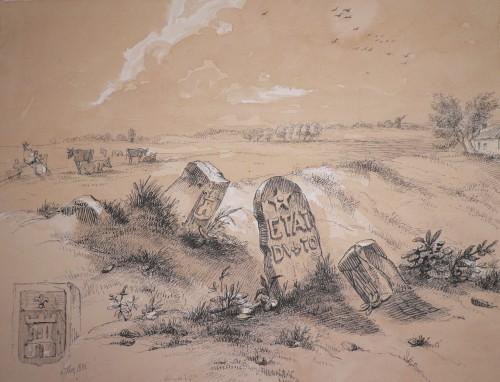 Bornes à la limite d'Orcq et Marquain Dessin de Bozière 1852 Collection privée.