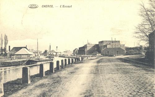 CHERCQ - L'Escaut - Édit. Vve Eeckhout Decarpentrie - Oblitération 29 8 1913 - Coordonnées GPS • Nord : 50 35 22 • Est : 3 25 24