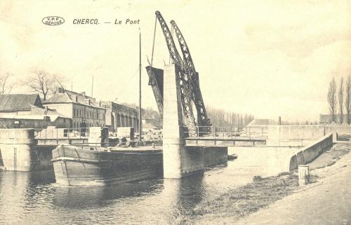 CHERCQ - Le Pont - Édit. Vve Eeckhout Decarpentrie - Oblitération 21 11 1913 - Coordonnées GPS • Nord : 50 35 19 • Est : 3 25 36