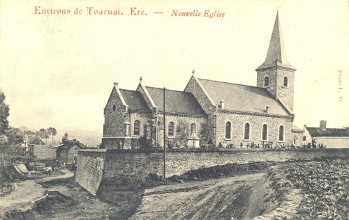 ERE - Église - Oblitération 23 10 1913 - Coordonnées GPS • Nord : 50 34 56 • Est : 3 22 00