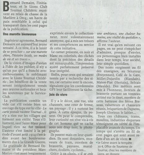 """Extrait du """"Courrier de l'Escaut"""" lors de la présentation publique du livre le 7 juin 2014."""