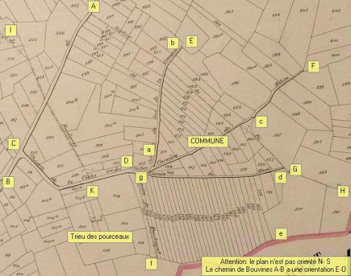 Extrait du plan Popp (1860 1865) montrant les environs de la Commune d'Orcq