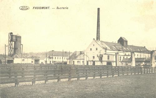 FROIDMONT - La sucrerie - V.P.F. déposé - Oblitération 28 6 1912 - Coordonnées GPS • Nord : 50 34 29 • Est : 3 20 20