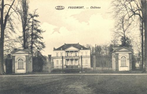 FROIDMONT - Le château - V.P.F. déposé - Oblitération 8 8 1912 - Coordonnées GPS • Nord : 50 34 22 • Est : 3 19 49