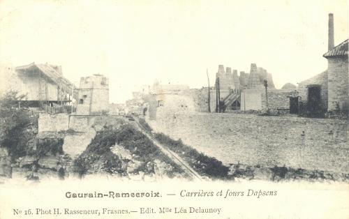 GAURAIN-RAMECROIX - Carrières et fours Dapsens - Phot. H. Rasseneur, Frasnes, édit. Léa Delaunoy - Oblitération 19 8 1908 - Coordonnées GPS • Nord : 50 35 45 • Est : 3 28 42