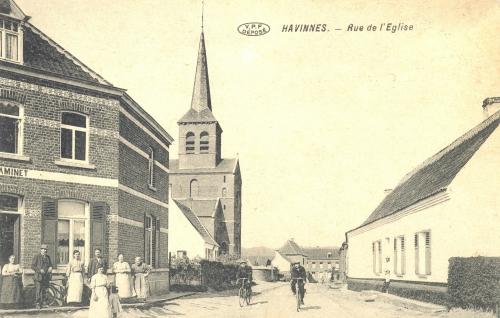 HAVINNES - Rue de l'Église - édit. Edmond Lory - Coordonnées GPS • Nord : 50 36 56 • Est : 3 27 49
