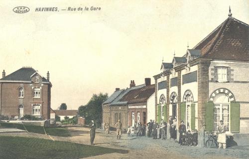 HAVINNES - rue de la Gare - édit. Edmond Lory - oblitération 1 4 1914 - Coordonnées GPS • Nord : 50 37 03 • Est : 3 29 29