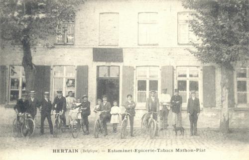 HERTAIN - estaminet, épicerie, tabacs Mathon-Piat - oblitération 21 1 1909 - Coordonnées GPS • Nord : 50 36 29 • Est : 3 16 28