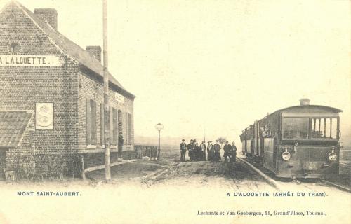 KAIN - arrêt du tram à l'Alouette - Lechantre et Van Geeberden 21, Grand Place Tournai - oblitération 24 4 1905 - Coordonnées GPS • Nord : 50 38 25 • Est : 3 23 58
