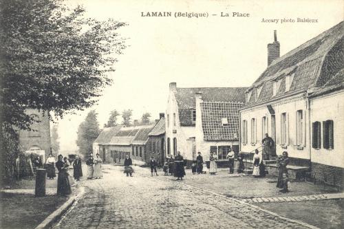 LAMAIN - rue principale - oblitération 2 7 1909 - Coordonnées GPS • Nord : 50 35 53 • Est : 3 17 33