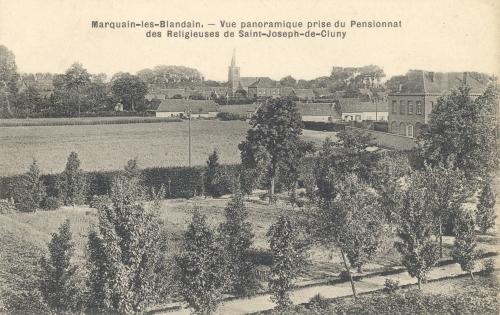 MARQUAIN - panorama - oblitération 17 2 1913 - Coordonnées GPS • Nord : 50 36 40 • Est : 3 19 40