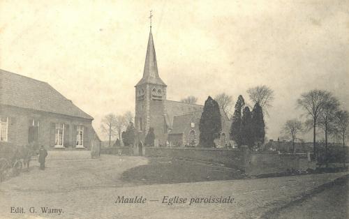 MAULDE - l'église - édit. G. Warny - Coordonnées GPS • Nord : 50 37 00 • Est : 3 32 54