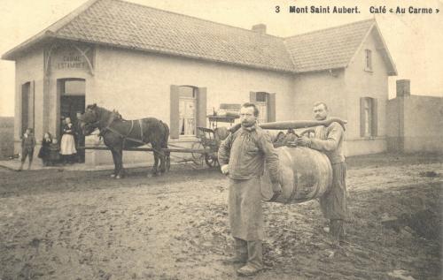 MONT-SAINT-AUBERT - café Au Carme, édit. N. Laflotte - oblitération 23 4 1919 - Coordonnées GPS • Nord : 50 38 29 • Est : 3 23 59