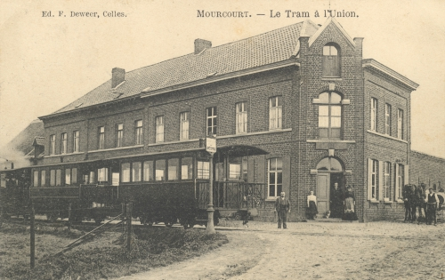 MOURCOURT - le tram à l'Union - éd. F. Deweer, Celles - oblitération 18 8 1910 - Coordonnées GPS • Nord : 50 39 14 • Est : 3 26 58