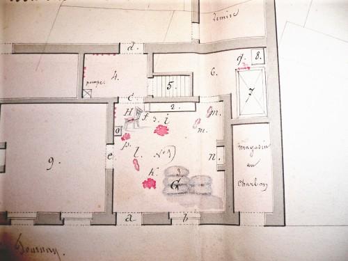 Plan détaillé de la maison du crime ayant servi lors du procès d'assises (Archives de l'Etat Mons)