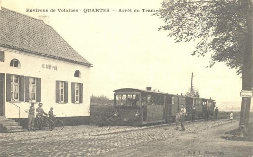 QUARTES - arrêt du tram - édit. L. Obsombre - Coordonnées GPS • Nord : 50 38 58 • Est : 3 30 47
