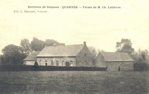 QUARTES - ferme de Ch. Lefebvre - édit. L. Obsombre, Velaines - oblitération 18 9 1907 - Coordonnées GPS • Nord : 50 39 06 • Est : 3 30 44