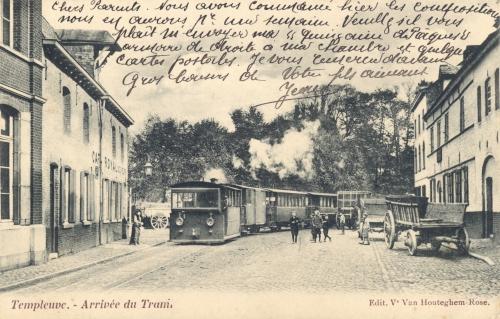 TEMPLEUVE - arrivée du tram - édit Vve Van Houteghem-Rose - oblitéraion 11 4 1908 - Coordonnées GPS • Nord : 50 38 41 • Est : 3 16 57