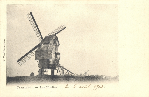 TEMPLEUVE - les moulins - oblitération 6 8 1902 - édit. Vve Van Houteghem - Coordonnées GPS • Nord : 50 38 33 • Est : 3 16 20