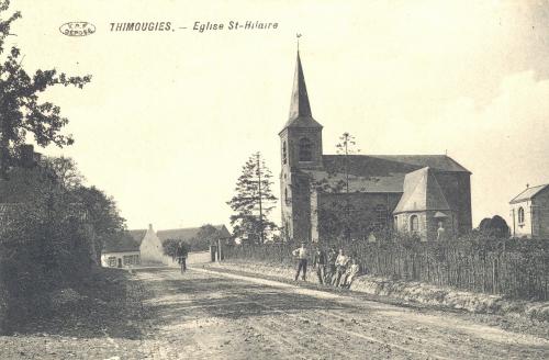 THIMOUGIES - église Saint-Hilaire - édit. Edmond Lory - Coordonnées GPS • Nord : 50 38 07 • Est : 3 30 40