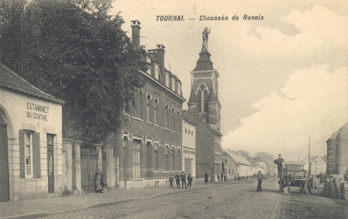 TOURNAI, faubourg Morelle - chaussée de Renaix - photo F. Deweer Celles - oblitération 29 7 1911 - Coordonnées GPS • Nord : 50 36 50 • Est : 3 24 24