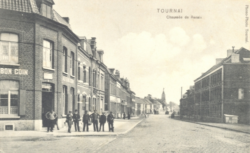 TOURNAI, faubourg Morelle - chaussée de Renaix - Phono-Photo Tournai - oblitération 31 7 1909 - Coordonnées GPS • Nord : 50 36 44 • Est : 3 24 10