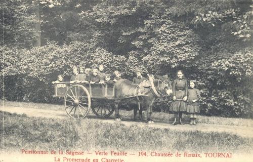 TOURNAI, faubourg Morelle - pensionnat de la Sagesse - oblitération 9 10 1927 - Coordonnées GPS • Nord : 50 37 01 • Est : 3 24 38