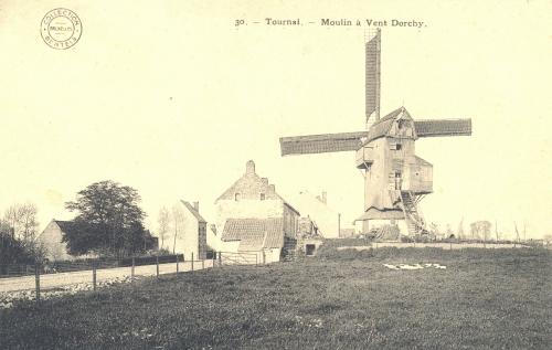 TOURNAI, faubourg Saint-Martin - moulin Dorchy, chaussée de Douai - collection Bertels - Coordonnées GPS • Nord : 50 35 51 • Est : 3 22 15