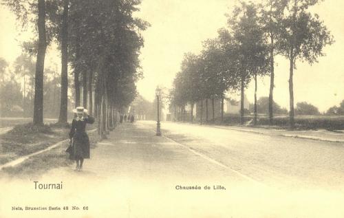TOURNAI, faubourg de Lille - chaussée de Lille - Nels Bruxelles - oblitération 28 8 1908 - Coordonnées GPS • Nord : 50 36 22 • Est : 3 22 42