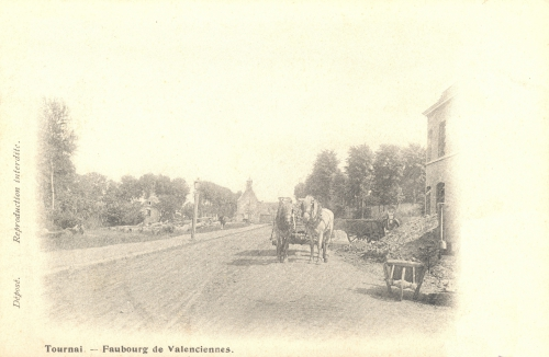 TOURNAI, faubourg de Valenciennes - chaussée d'Antoing - oblitération 27 4 1903 - Coordonnées GPS • Nord : 50 35 51 • Est : 3 24 12