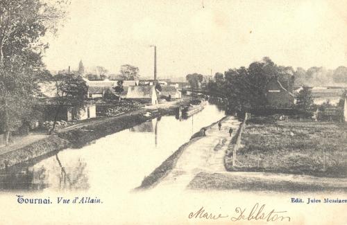 TOURNAI, faubourg de Valenciennes - vue d'Allain - édit. Jules Messiaen - oblitération 8 4 1904 - Coordonnées GPS • Nord : 50 35 56 • Est : 3 24 12