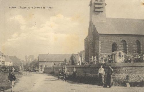 VEZON - église et chemin du Tilleul - oblitération 7 12 1914 - Coordonnées GPS • Nord : 50 34 07 • Est : 3 30 04