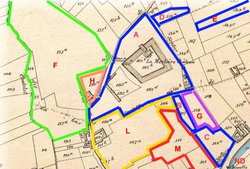 Le plan ci dessus ayant comme trame le plan cadastral d'Orcq de Christian Popp édité vers 1860 nous aidera à mieux visualiser la formation de la Marlière actuelle qui s'est constituée entre 1840 et 1858, sous la houlette des frère et sœur Crombez.