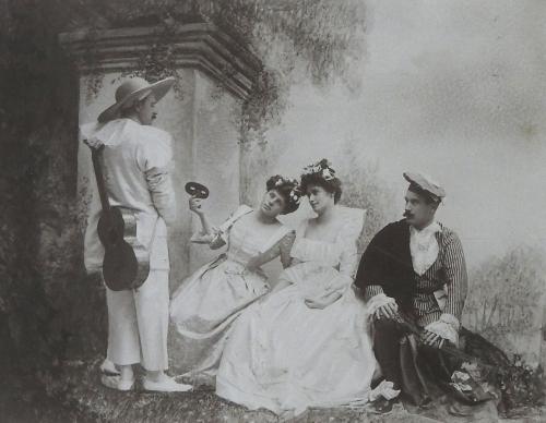 D'après un tableau de fête galante de Watteau